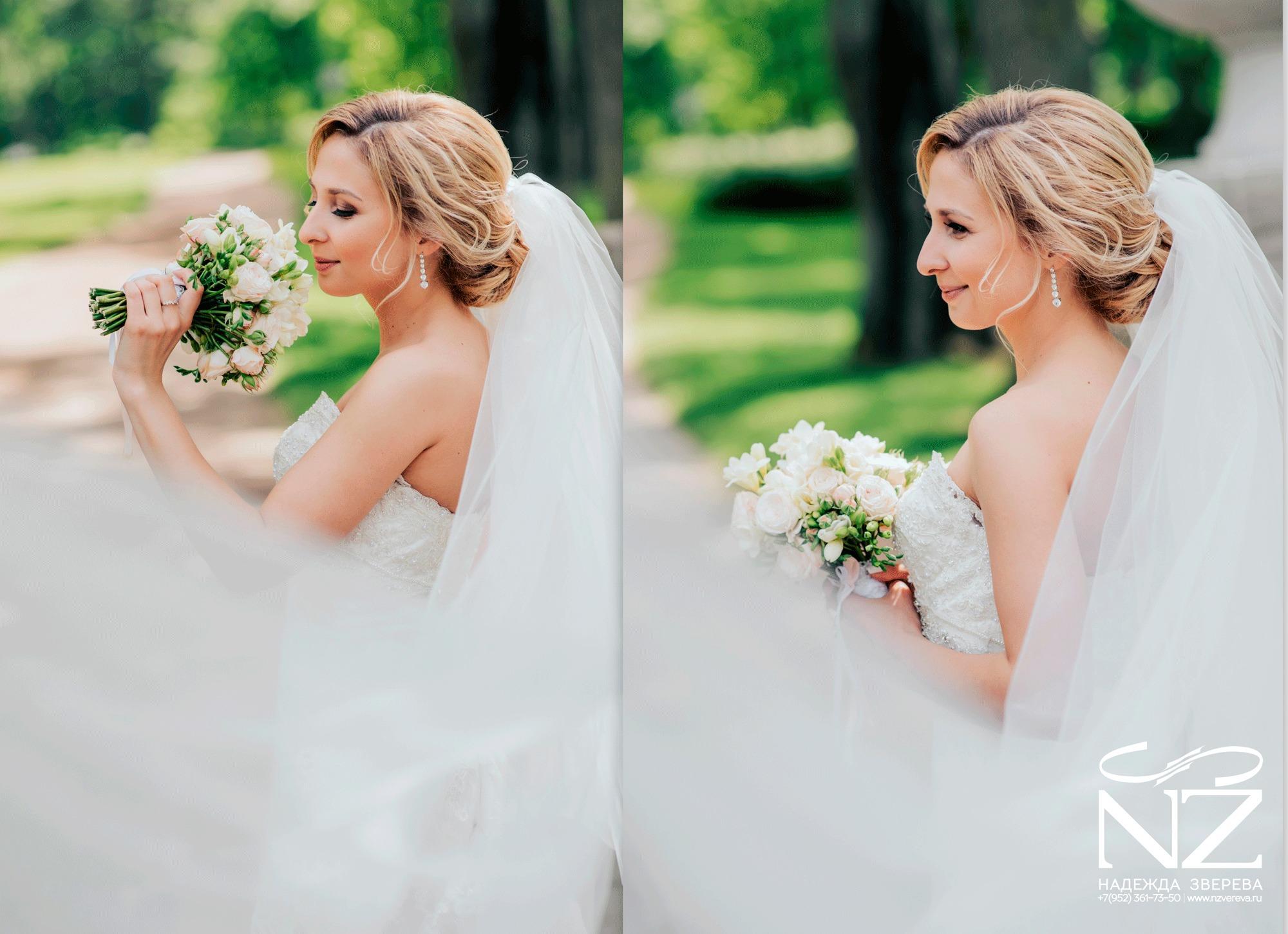 Свадебная низкая прическа с фатой
