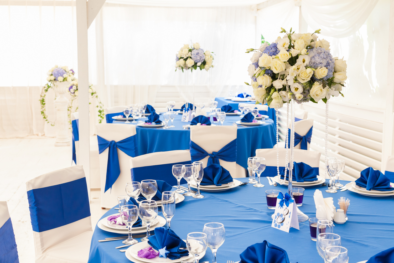 Оформление свадьбы в бело-голубом цвете фото