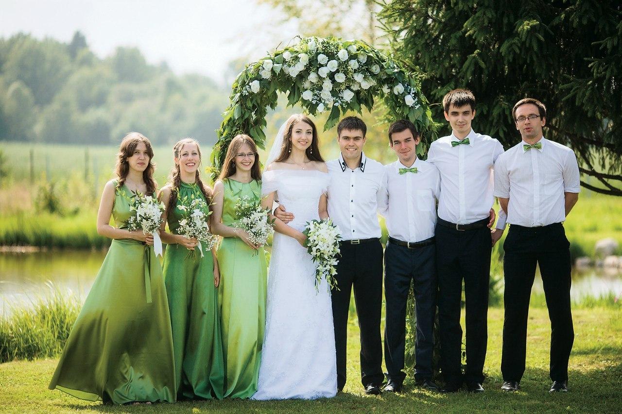 Зелено белая свадьба фото