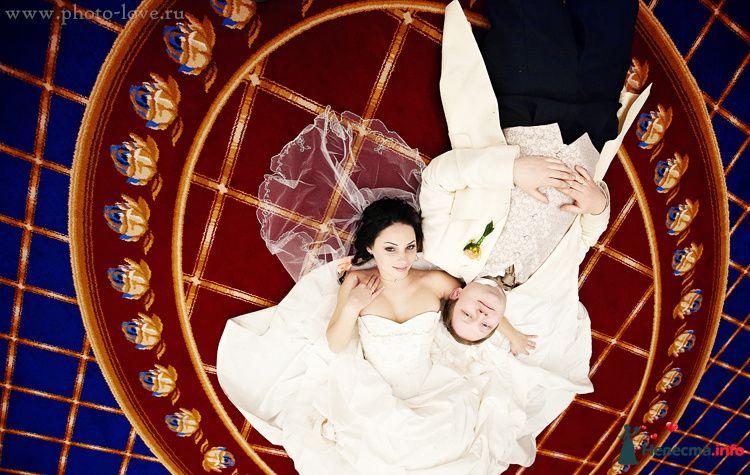 Жених и невеста лежат, прислонившись друг к другу, на красном полу - фото 83589 Фотограф Сергей Беликов