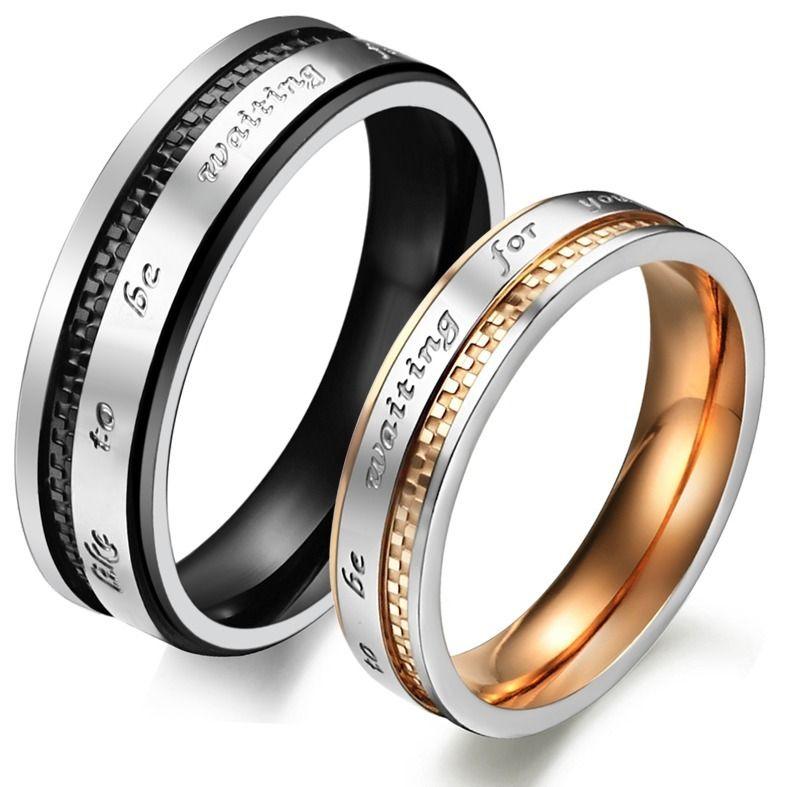 Парные кольца для влюбленных стальные
