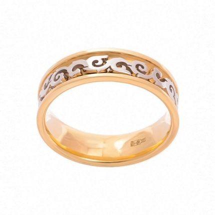 Кольцо из белого и лимонного золота