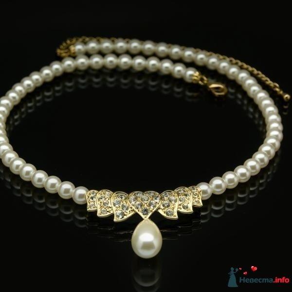 Ожерелье из жемчуга на шею в классическом стиле с каплевидной - фото 87478 katya777
