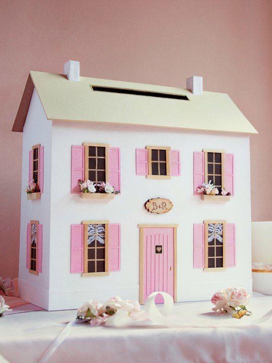 """Семейная казна """"Дом"""" 35*35*20 см в бело-розовом цвете - фото 13868302 Свадебные бонбоньерки """"Бон-бон"""""""