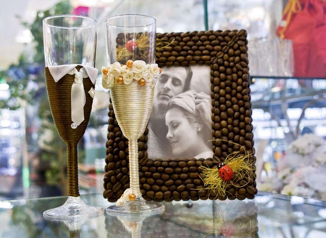 Бокалы «Жених и невеста» - фото 880523 Wedcraft - свадебный декор