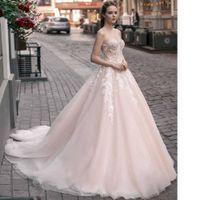 Пышное свадебное платье в пудровом цвете