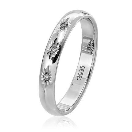 Обручальное кольцо классическое с 3 бриллиантами и алмазной гранью