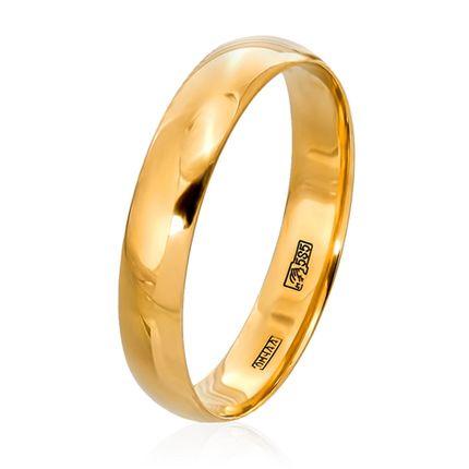 Обручальное кольцо Комфортное классическое из желтого золота