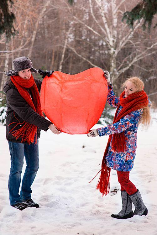 зимняя love story  в Ботаническом саду, запуск фонариков, романтика зимней фотосессии