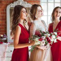 букет невесты, будуарное платье, образ невесты, подружки невесты, свадебное платье
