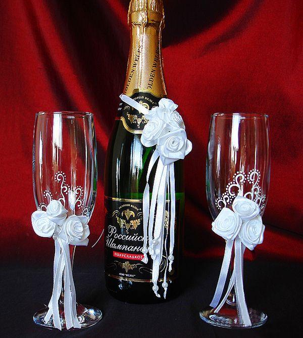 Украшение свадебного шампанского своими руками пошагово