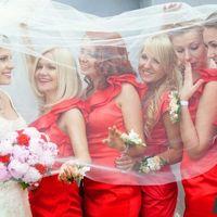 Подружки невесты в красном под фатой