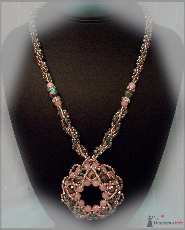 Подвеска из бусин и камней (розовый кварц). Чешский бисер - фото 79289 Невеста01