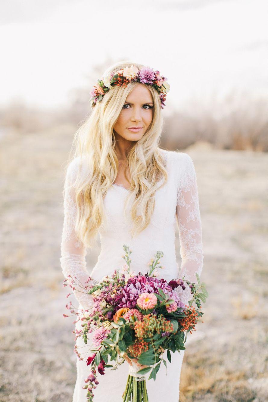 Веток и букет невесты из розовых и персиковых роз, сиреневых астр, оранжевого скадоксуса, розовой вероники и зеленого эвкалипта  - фото 942915 Katja Nesmeyana