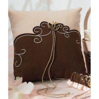 Бежево-коричневая подушечка для колец с золотым шнуром