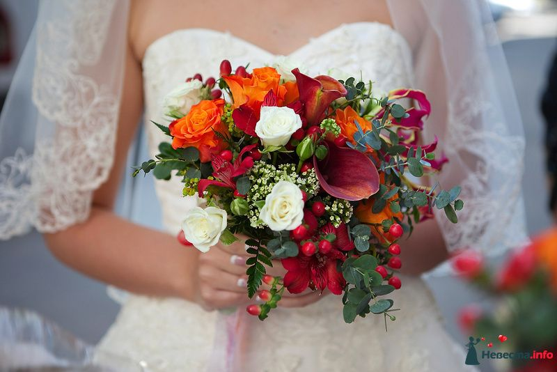 Букет невесты из бордовых калл, белых и оранжевых роз, белых эустом, красного гиперикума, зеленого эвкалипта и папоротника - фото 124081 Невеста01
