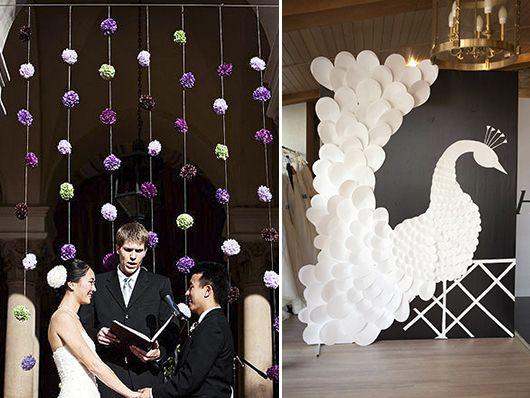Украсить стену к свадьбе