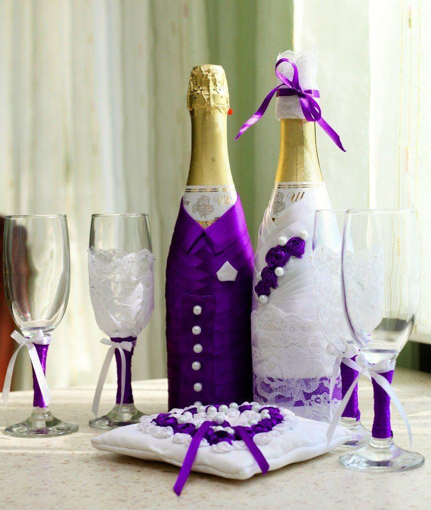 Украшение свадебной бутылки своими руками