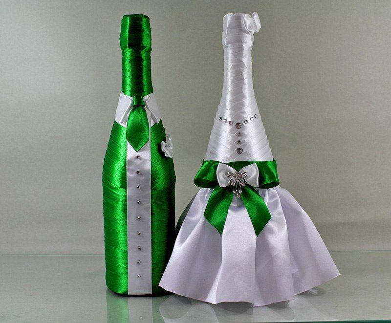 Декор бутылок на свадьбу лентами