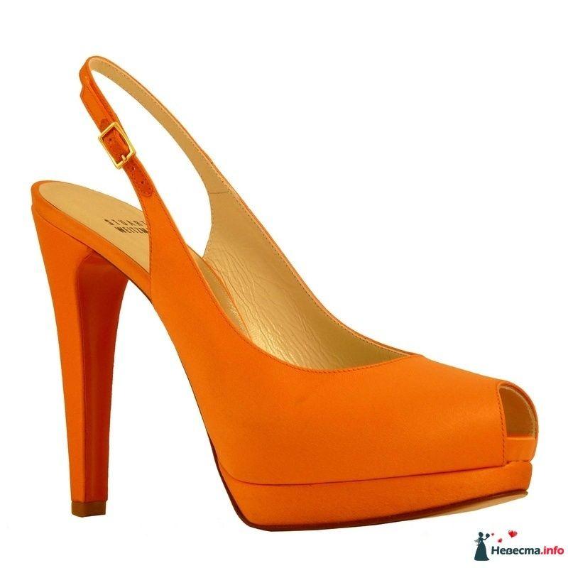 Оранжевые босоножки на высоком каблуке 15 см.
