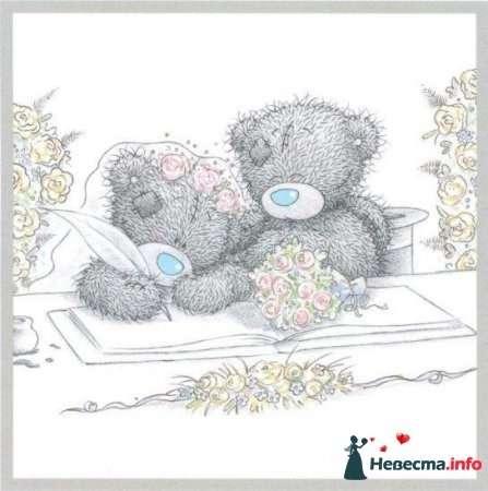 """Мишки-Тедди  пример рисунка на бокалы - фото 122901 """"Aнютa"""" - свадебные бокалы и аксессуары"""