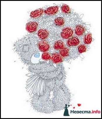 """Мишки-Тедди  пример рисунка на бокалы - фото 122902 """"Aнютa"""" - свадебные бокалы и аксессуары"""