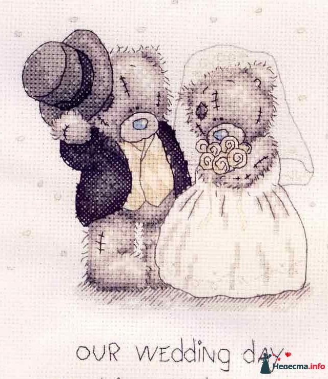 """Мишки-Тедди  пример рисунка на бокалы - фото 122910 """"Aнютa"""" - свадебные бокалы и аксессуары"""