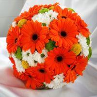 Букет невесты из оранжевых гербер и белых ромашек