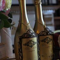 """Декор шампанского Свадьба в золотых тонах """"Luxury gold"""""""