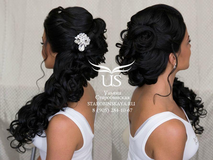 Прически на свадьбу длинные черные волосы без челки