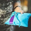 Подушечка для колец в бирюзово-фиолетовых тонах