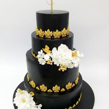 Чёрный торт с цветами, цена за 1 кг