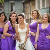 Невеста и её подружки в сиреневом