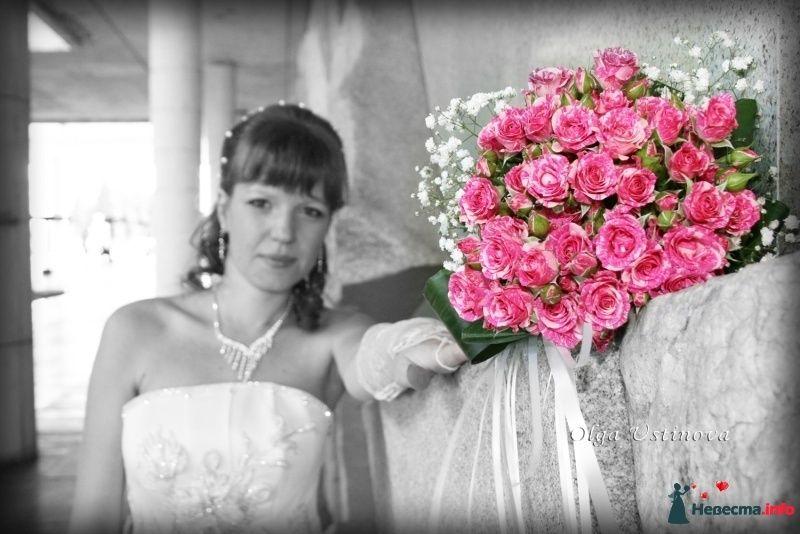 Букет невесты из розовых роз и белой гипсофилы  - фото 268362 Свадебный фотограф Ольга Устинова