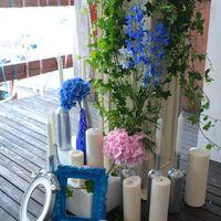 розово-синяя свадьба, декор фотозоны