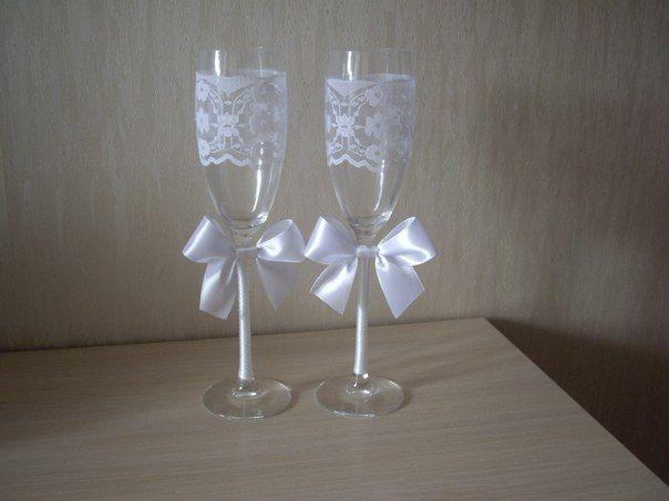 Оформление свадебного бокала своими руками