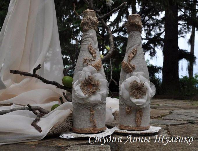 Свадебное шампанское в стиле рустик. Рустикальная свадьба в Крыму.