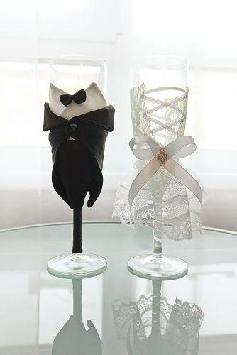 """Фото 1219313 в коллекции Свадебные бокалы в костюмах жениха и невесты - Свадебные бокалы """"в костюмах жениха и невесты"""""""