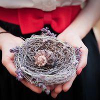 Гнездо для колец с веточками лаванды и ракушкой
