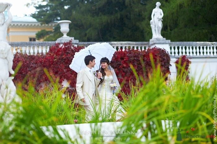 Жених и невеста идут вместе под зонтом в парке - фото 56928 Rainbow