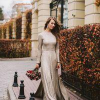 осень, серебряное платье, не пышное платье, большой букет