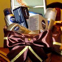 корзинка для парфюмерии, с шоколадным атласным бантом в ткани для Нишана