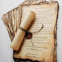 Состаренный свито с сургучной печатью. Подойдет как для классической свадьбы, так и для тематической - в средневековом, морском, королевском стиле.