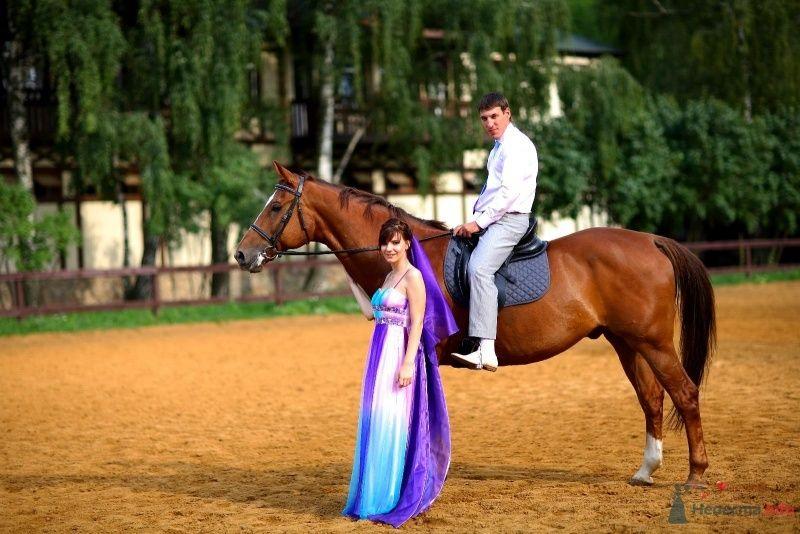 Жених сидит верхом на лошади, рядом стоит невеста в сиреневом платье