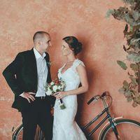 Фотосессия в дождь. Фотостудия. Велосипед. Рустик. Букет невесты