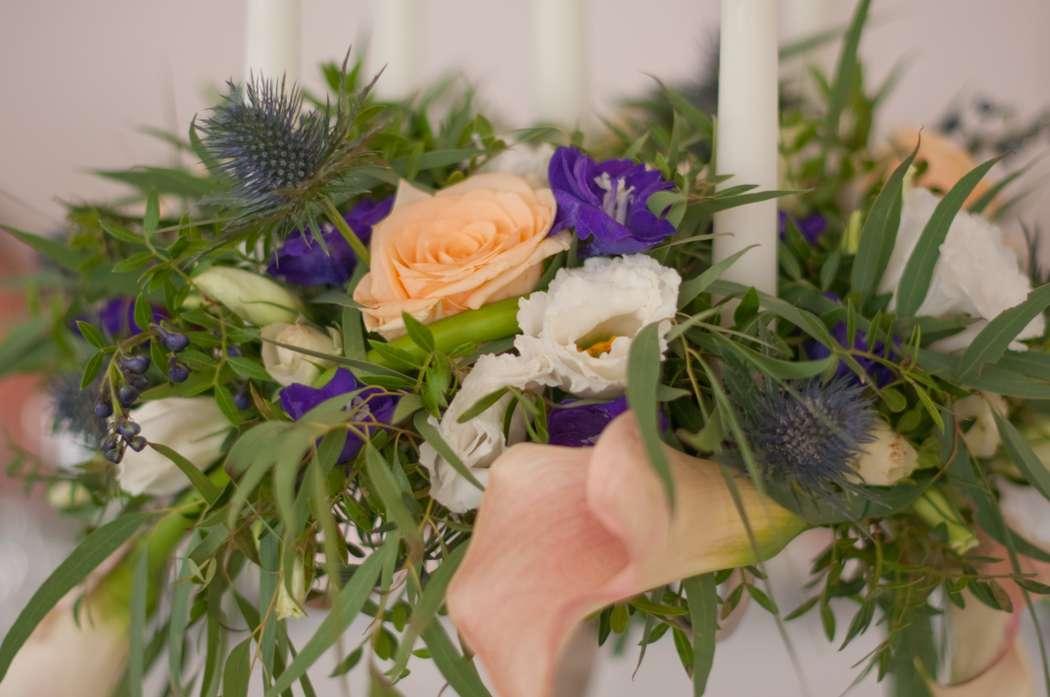 """синяя фиолетовая персиковая свадьба - фото 6443080 Студия флористики и декора """"Глориоза"""""""