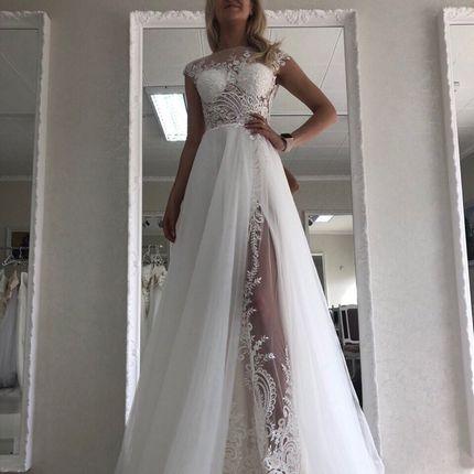 Свадебное платье с разрезом А1403