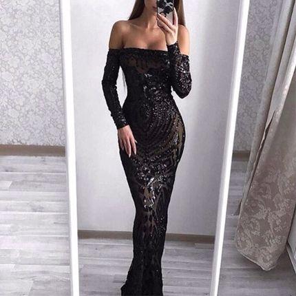 Вечернее платье черное А1562