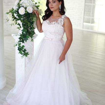Платье цвета пудра А1576