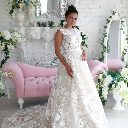Платье цвета пудра А1629